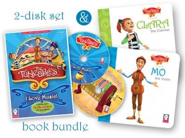 "Gift Bundle: The Tuneables: ""I Love Music!"" 2-disk set plus Clara and Mo Book"